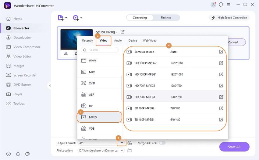 convert mkv to mpeg-2 - choose output format
