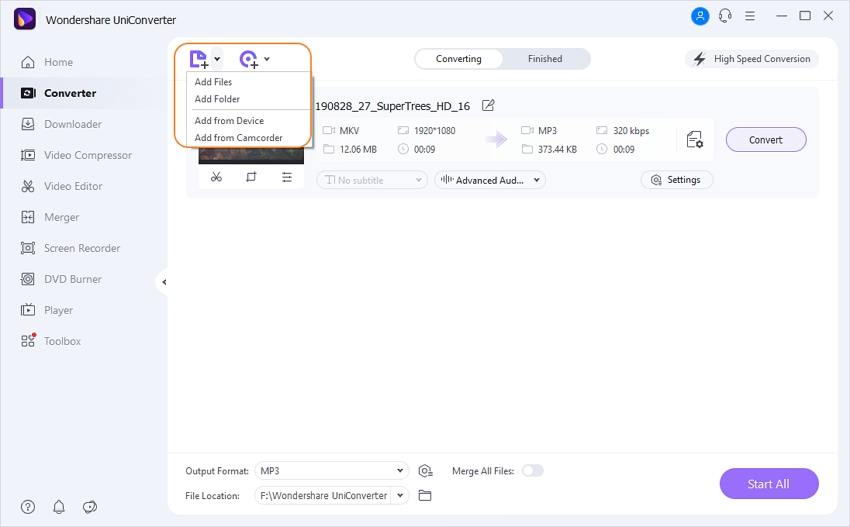 Import MKV files into this MKV to MP3 converter