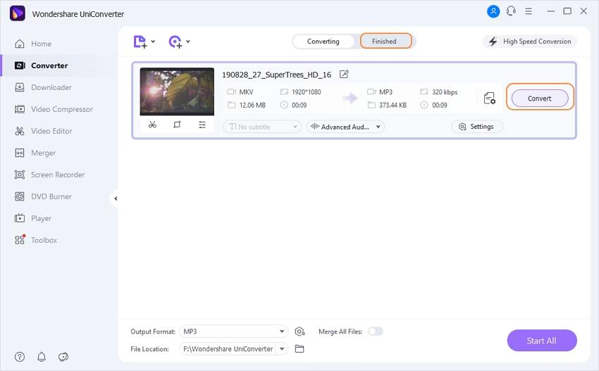 Start converting MKV to MP3