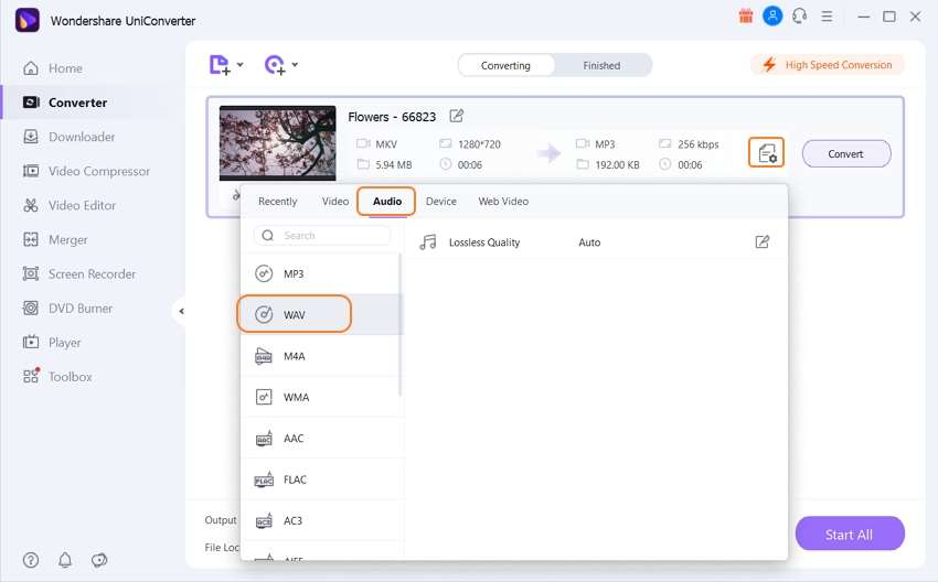 convert mkv to wav - choose format