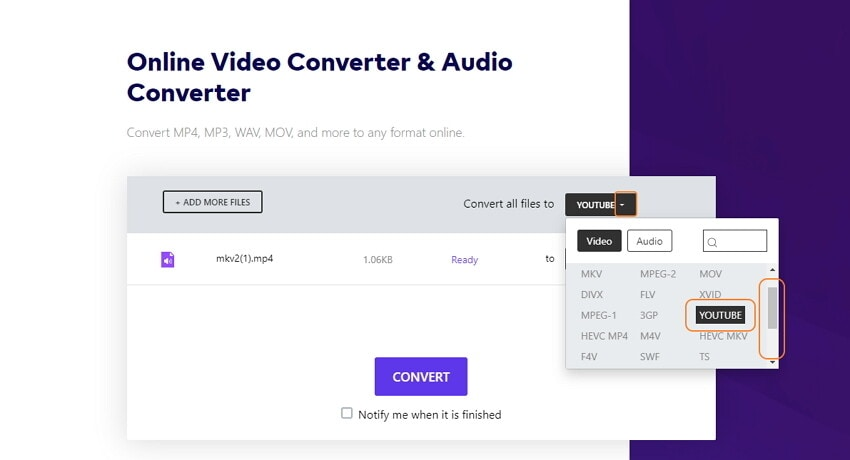 select YouTube videos to output