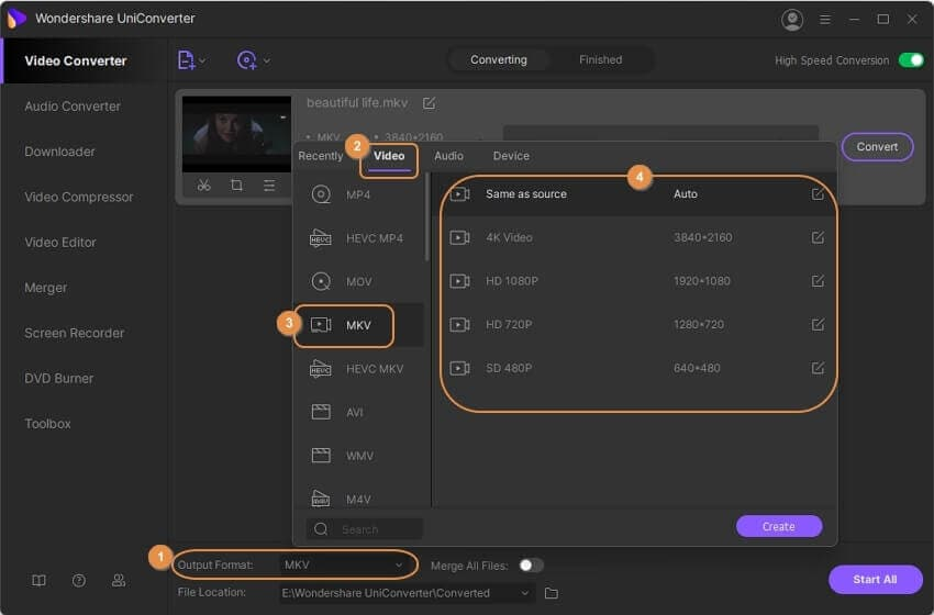 add subtitles to mkv - choose MKV as output