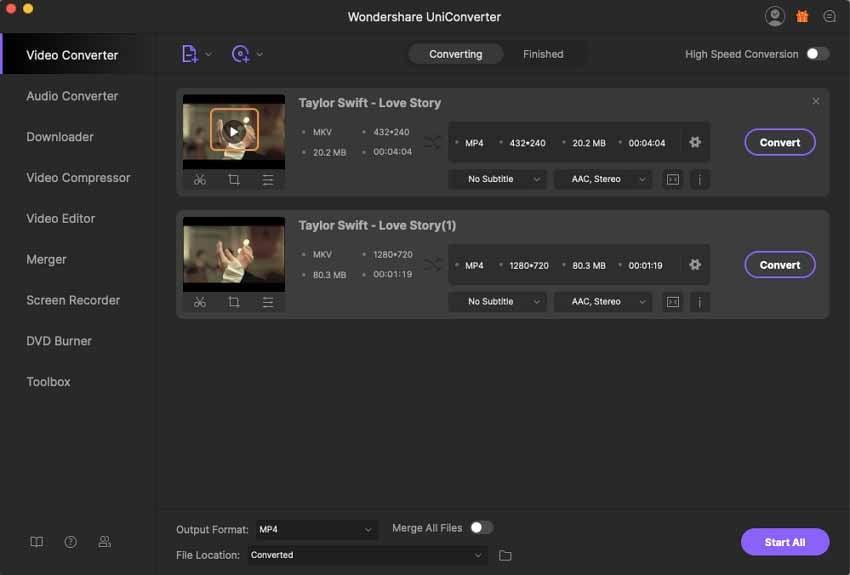 load mkv video to wondershare player