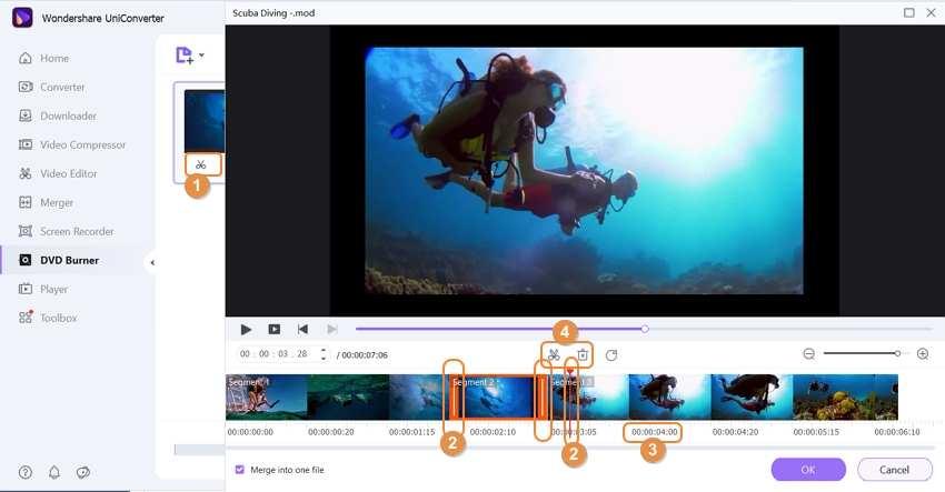 edit MOV file by Wondershare MOD to DVD Converter