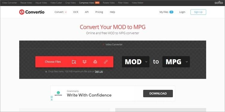 convert MOD to MPG online - Convertio