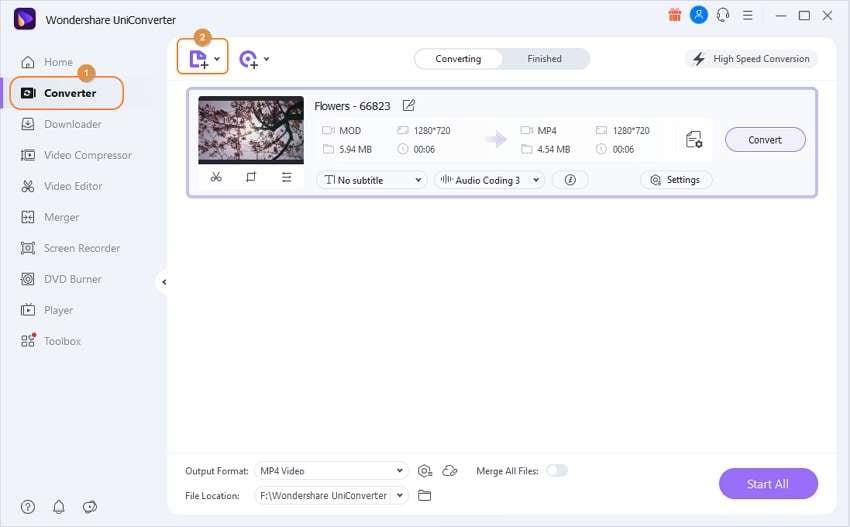Open the Wondershare MOD to WMV Converter