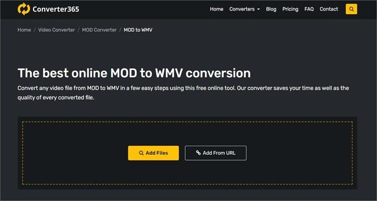 convert MOD to WMV online - Converter365