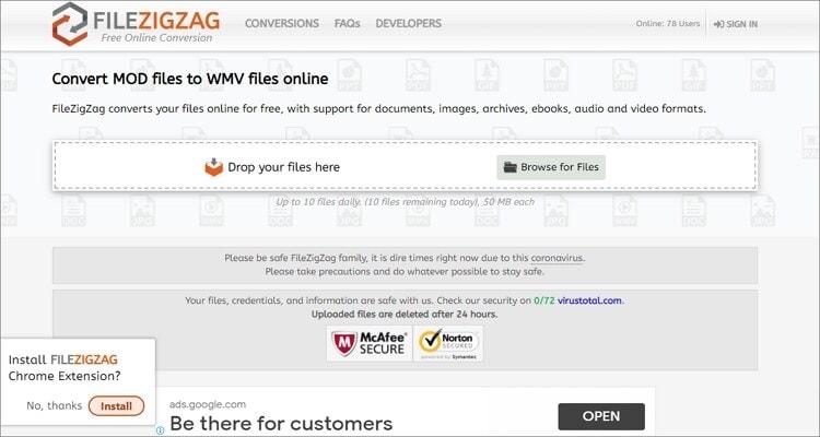 convert MOD to WMV online - FileZigZag