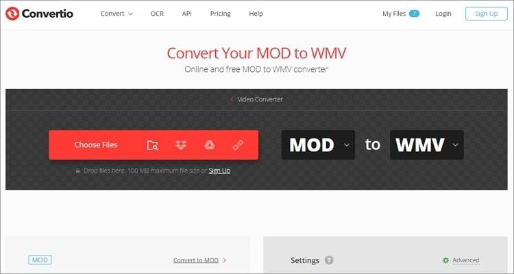 convert MOD to WMV online - Convertio
