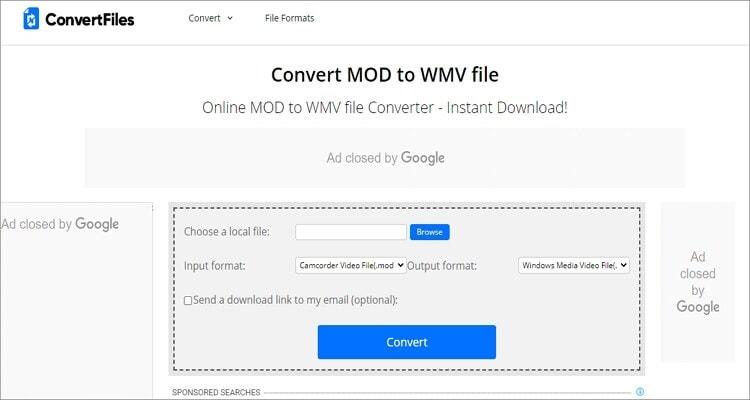 convert MOD to WMV online - ConvertFiles