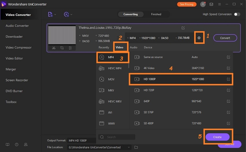 Select MP4 as the Output Format