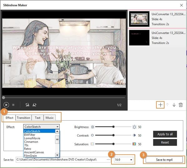 Edit the slideshow by adding effects, music, or text