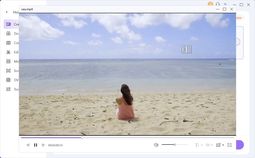 play quciktime video in the wondershare uniconverter