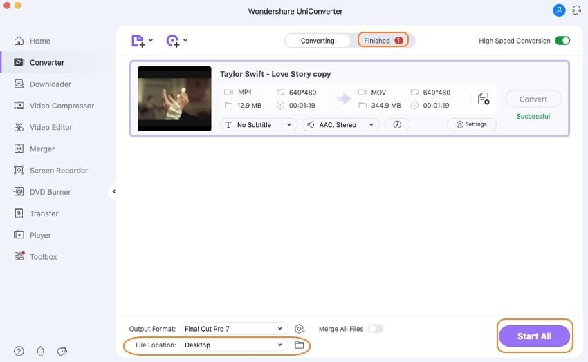 Start MP4 to FCP conversion