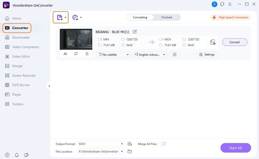 load YouTube videos to YouTube to .mov converter