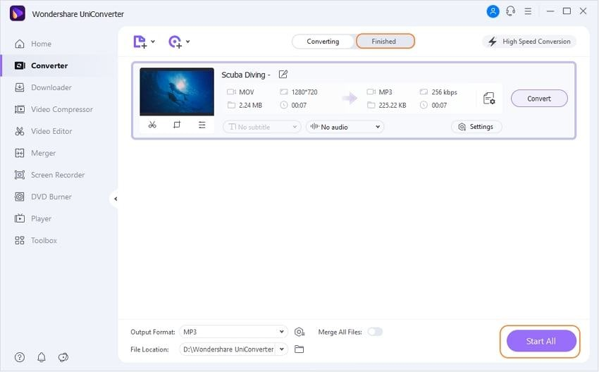 convert all mov to mp3 by Uniconverter