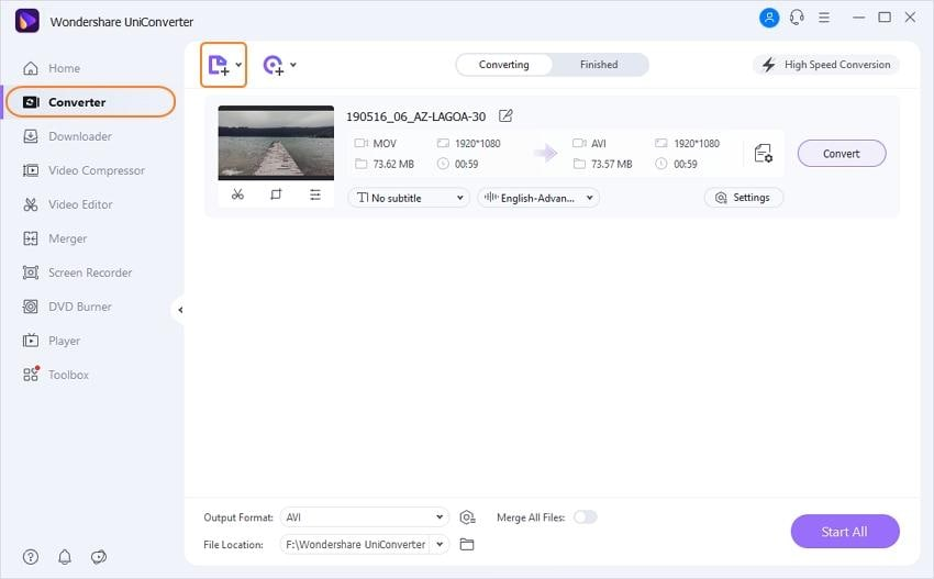 add MOV files to best MOV to AVI converter