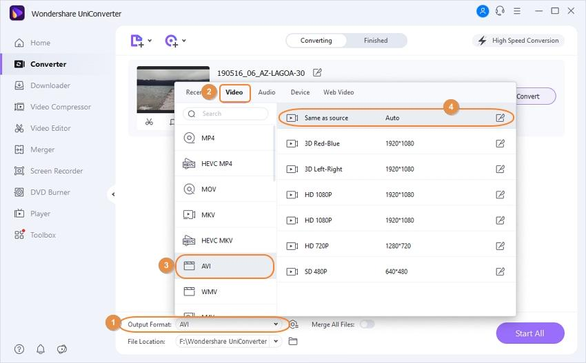 select output format as AVI