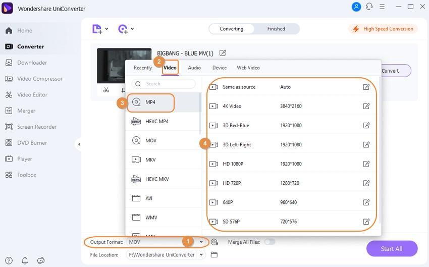 Choose MOV as target format