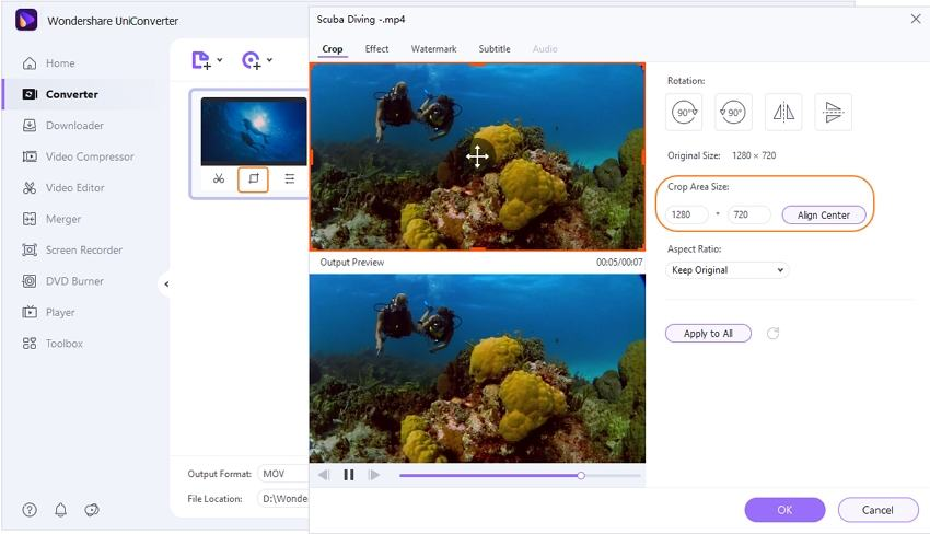 How to crop imovie file by Uniconverter