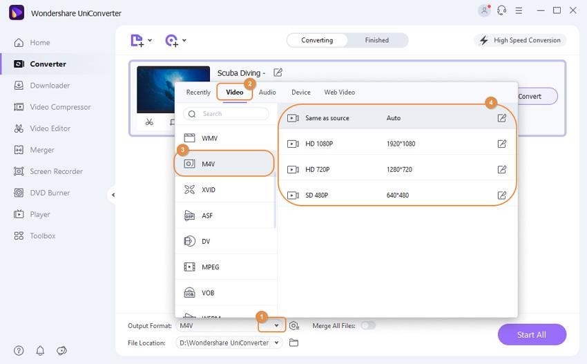 choose M4V as output format