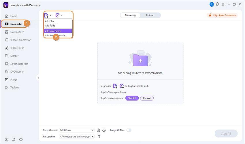 upload videos to uniconverter