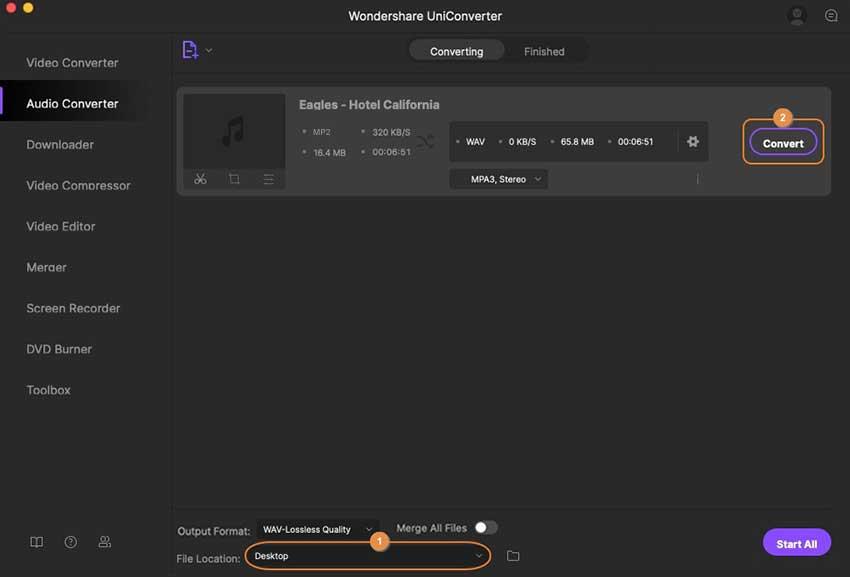 convert MP2 to WAV