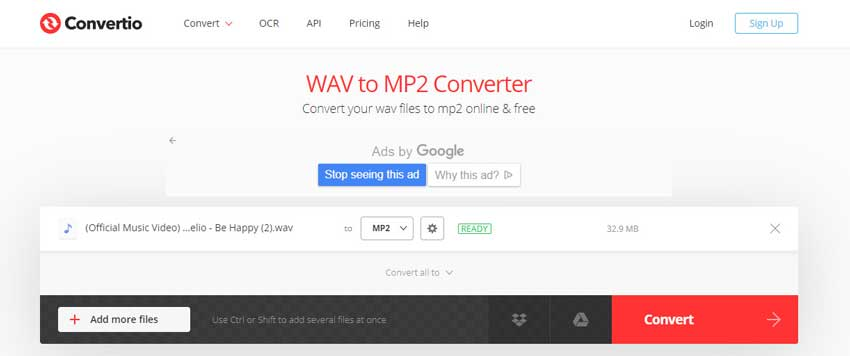 convert WAV to MP2