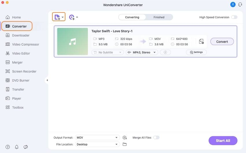 load mp3 files into uniconverter