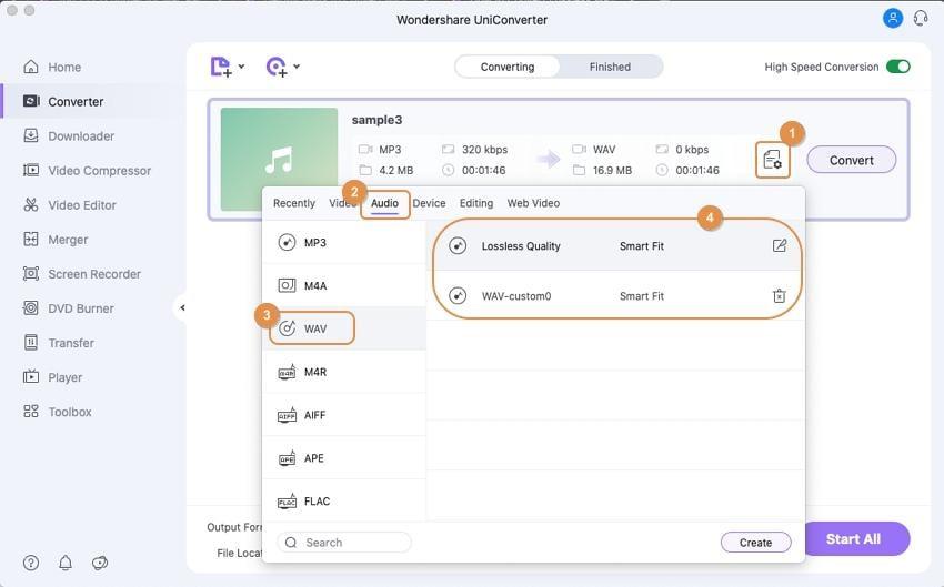 choose wav as output format mac