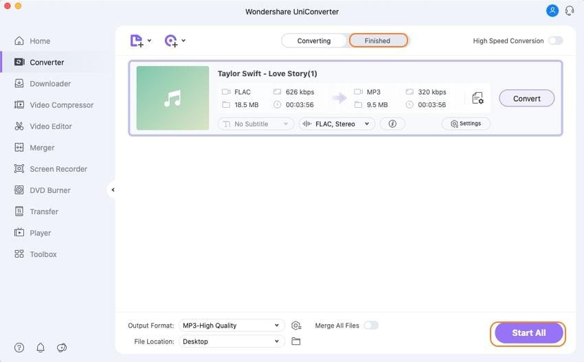 démarrer la conversion de flac en mp3 sur mac