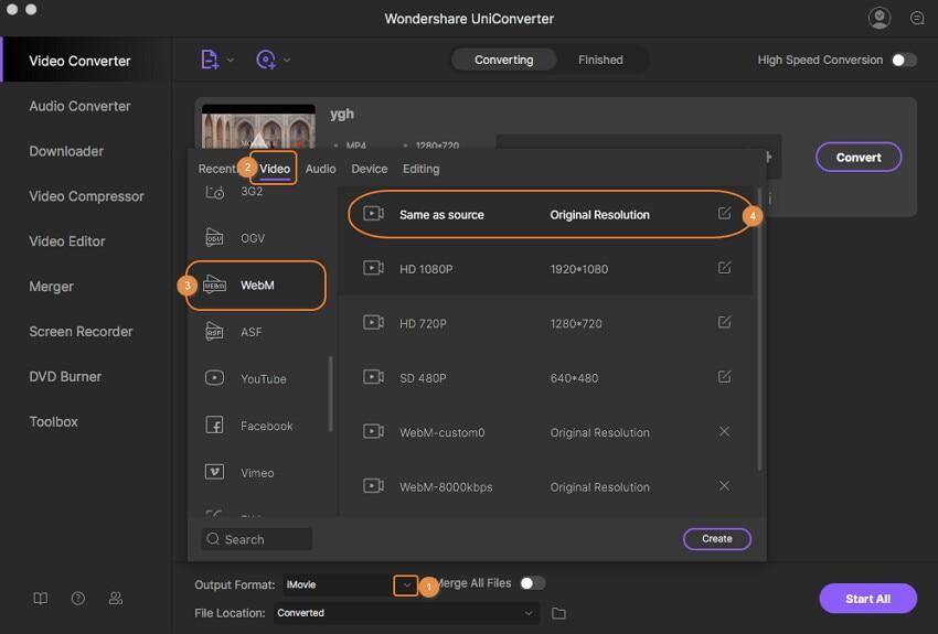 Select WebM as output format