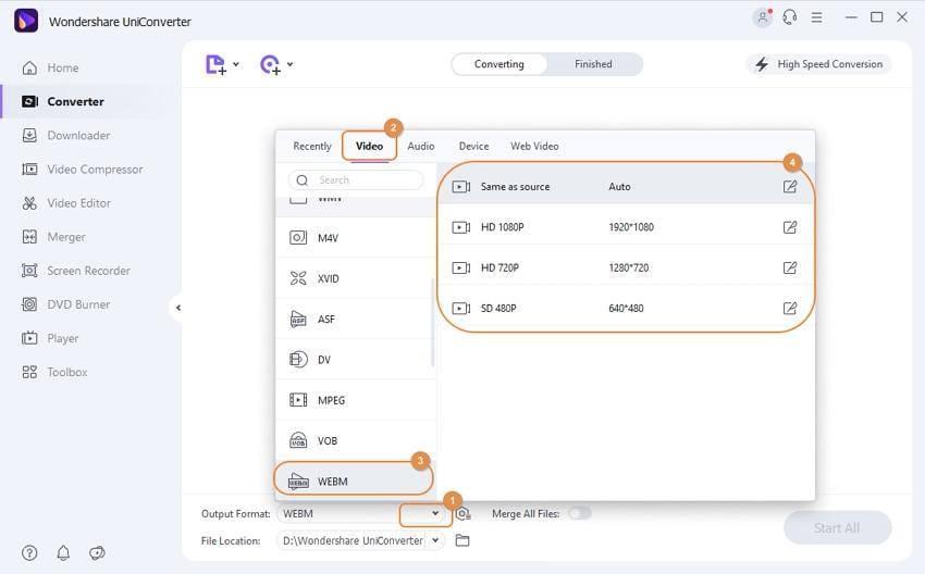 Como converter MP4 para WebM - selecione o formato de saída