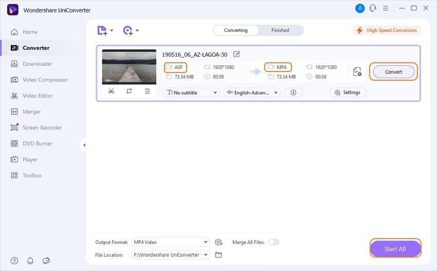Comment convertir un ASF en MP4 sous Windows et Mac - demarrer la conversion ?