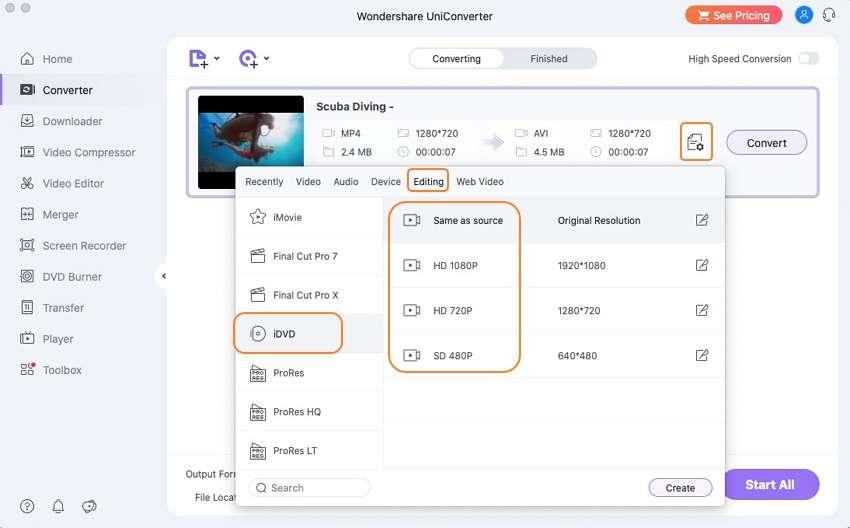 convert MP4 to iDVD - choose idvd format