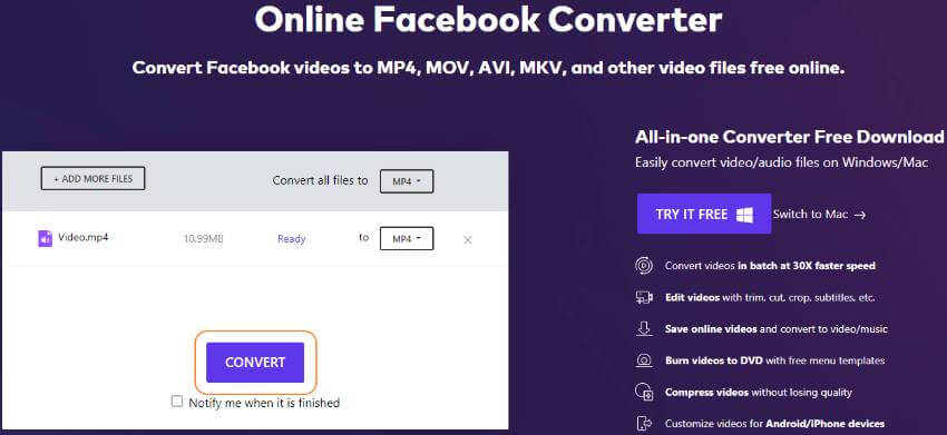 convert mp4 to facebook video online