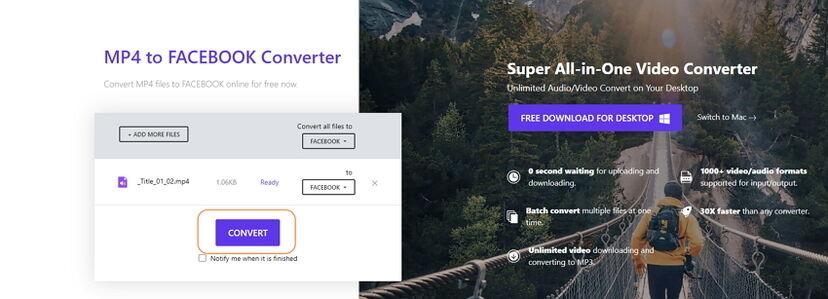 convert video for facebook online