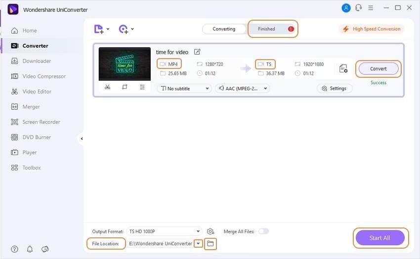 convert MP4 to TS video