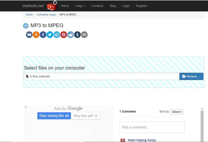 Online kostenlose MP3 to MPEG Converter - Inettools