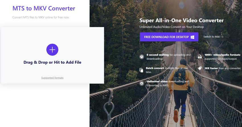 convert MTS to MKV by Wondershare Online Uniconverter