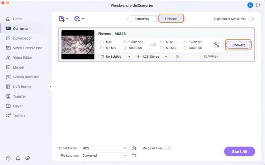 convert MTS to MOV Mac