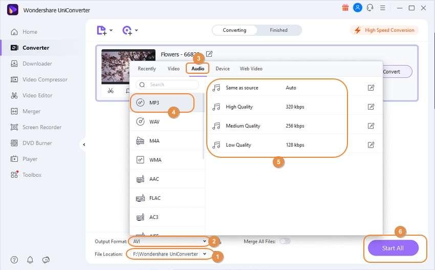start to convert MXF to MP3 by Wondershare MXF to MP3 Converter