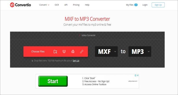 convert MXF to MP3 online - Convertio