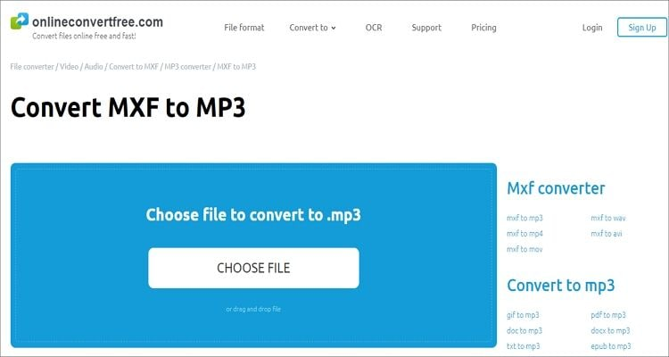convert MXF to MP3 online - Onlineconvertfree