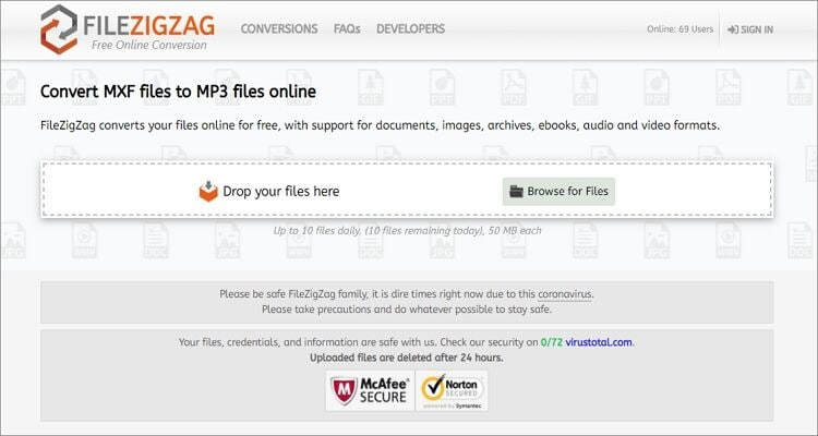 convert MXF to MP3 online - FileZigZag