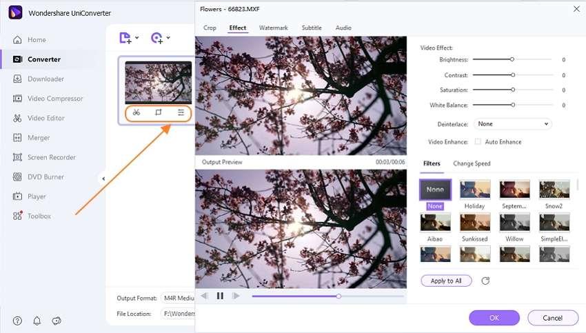 edit MXF file by Wondershare MXF to WMV Converter