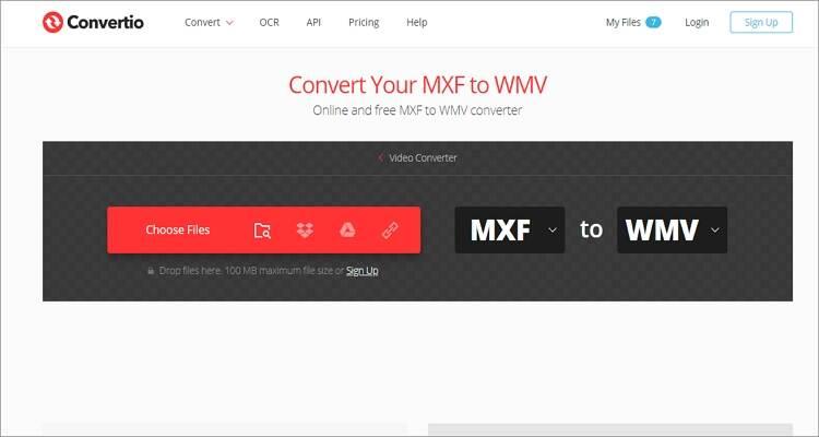 convert MXF to WMV online - Convertio