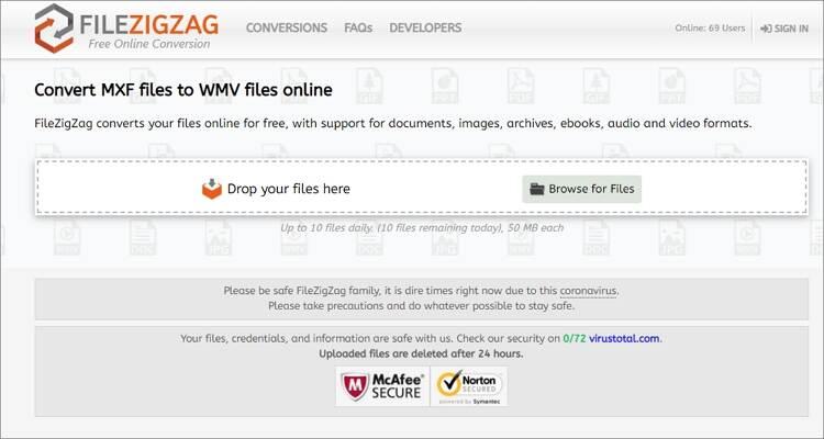 convert MXF to WMV online - FileZigZag