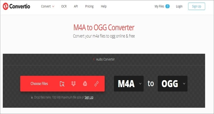 M4A to OGG Online Converter - Convertio