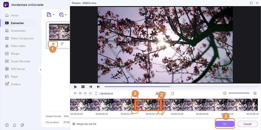 edit MOV files by Wondershare Audio Converter